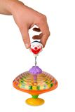 Hand playing colors whirligig isolated Royalty Free Stock Photo