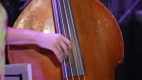Hand Playing Double Bass. At a jazz concert closeup
