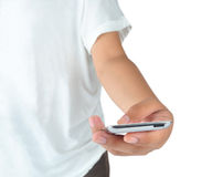 Hand playing mobile phone isolated on white Royalty Free Stock Images