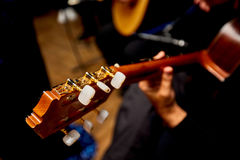 Hand Playing on Neck of Guitar, detail, close-up stock photo