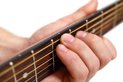 Hand playng on guitar Royalty Free Stock Photography
