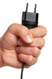 Hand with plug Stock Photos