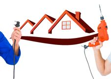 Hand with plug and hand with drill with red houses bbackground Royalty Free Stock Images