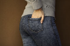 Hand in pocket Royalty Free Stock Image