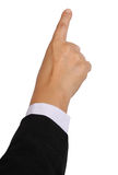Hand point. Image of business woman hand point on white background royalty free stock photo