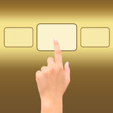 Hand point golden square symbol Stock Photos