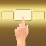 Hand point golden square symbol Stock Photos