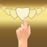 Hand point heart. Hand point golden heart symbol Stock Image
