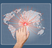 Hand point on the social network map Stock Photography