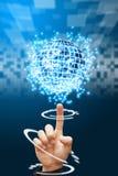 Hand point to digital world background. Smart hand point to digital world background Stock Photos