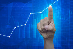 Hand point to graph on financial and business chart and graphs Royalty Free Stock Photos
