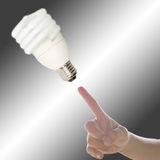 Hand with point to Light bulb. Child's Hand pointing to Light bulb Royalty Free Stock Photos