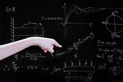 Hand point to text on blackboard Royalty Free Stock Images