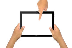 Hand point to touch pad. Authority background blue button caucasian controlling stock photography