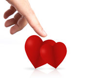 Hand point to two heart Stock Photos