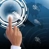 Hand point on visual technology screen background. Hand point on visual technology screen Stock Photos