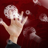 Hand point on visual technology screen background Stock Photos