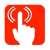 Hand with pointed finger and signal. Wifi signal from finger  logo. Red alert sign with hand. Dont touch icon. Signal finger on red background. Alert flat icon Stock Photos