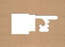 Hand pointer of cardboard. Hand pointer cut of cardboard Stock Image