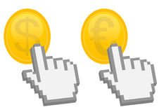 Hand pointer on dollar and euro coin. 3d hand pointer on dollar and euro coin -  illustration Stock Photography