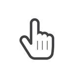 Hand pointer symbol. Line icon, outline  logo illustration. Linear pictogram isolated on white Stock Photo