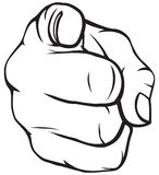 Hand pointing. Point the finger at someone vector illustration
