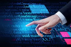 Future and computing concept. Hand pointing at abstract HTML background. Future and computing concept. 3D Rendering Stock Photo