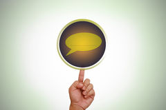Hand pointing on blank message button Royalty Free Stock Images