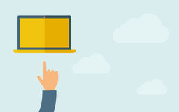 Hand pointing at blank screen of  laptop Royalty Free Stock Images