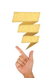 Hand pointing on blank speech balloon Royalty Free Stock Photography