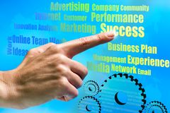 Hand pointing on business ideas. Stock Images