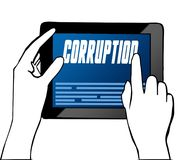 Hand pointing at CORRUPTION text on tablet. Illustration. Graphic concept Stock Photos
