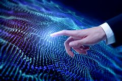 Hand pointing at digital wave background. Hand pointing at abstract digital wave background. Hi-tech and innovation concept. 3D Rendering Royalty Free Stock Image