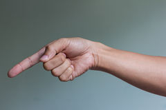 Hand pointing down Royalty Free Stock Image