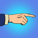 Hand pointing finger man. Business concept objective a forward direction. Retro style pop art Stock Images