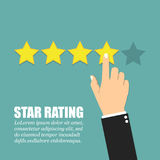 Hand with pointing finger pointing to rating stars. Flat design Stock Photo