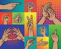 Hand pointing finger pop art arm gestures retro comic style people gesturing communication sign vector illustration. Expression popart graphic cartoon comic Royalty Free Stock Images