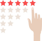 Hand with pointing finger to rating stars. Flat design. Isolated on white background Royalty Free Stock Photo