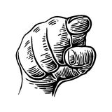 Hand pointing finger at viewer, from front.  Vector black vintage engraved illustration. I want you. Hand pointing finger at viewer, from front.  Vector black Royalty Free Stock Images