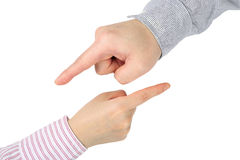 Hand pointing gesture Royalty Free Stock Photos