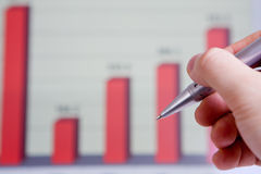 Hand pointing graph charts Stock Photos