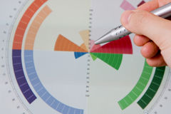 Hand pointing graph charts Stock Photography