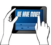 Hand pointing at WE HAVE MOVED text on tablet. Illustration. Royalty Free Stock Photography