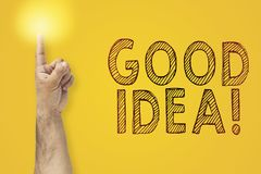Hand pointing his finger up and having a good idea.  royalty free stock images