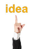 Hand pointing on idea Royalty Free Stock Photography