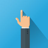 Hand Pointing with Index Finger Flat Style Vector Illustration. Hand with long shadow in the suit pointing with index finger on blue background. Flat style Royalty Free Stock Image