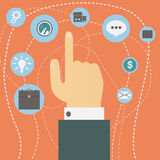 Hand pointing index finger hovers over multiple icons vector. Concept of choice. Royalty Free Stock Photos