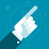 Hand with pointing index finger. Showing a direction stock illustration