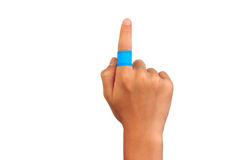 Hand pointing with injured finger. Stock Images