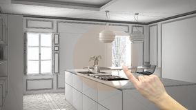 Hand pointing interior design project, home project detail, deciding on rooms furnishing or remodeling concept, modern kitchen in royalty free illustration